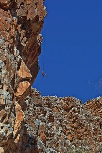 Abseiling 80m Orange River rafting